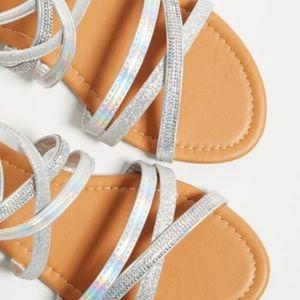NEW Silver Glitter Crisscrossing Gladiator Sandals